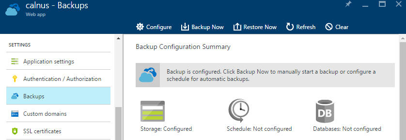 Backup en Azure App Service