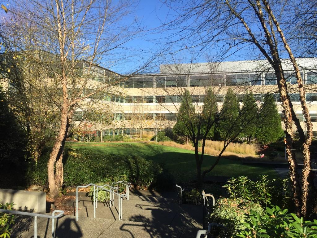 Uno de los edificios del campus de Microsoft en Redmond, WA