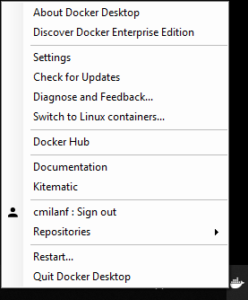 Docker Desktop menu